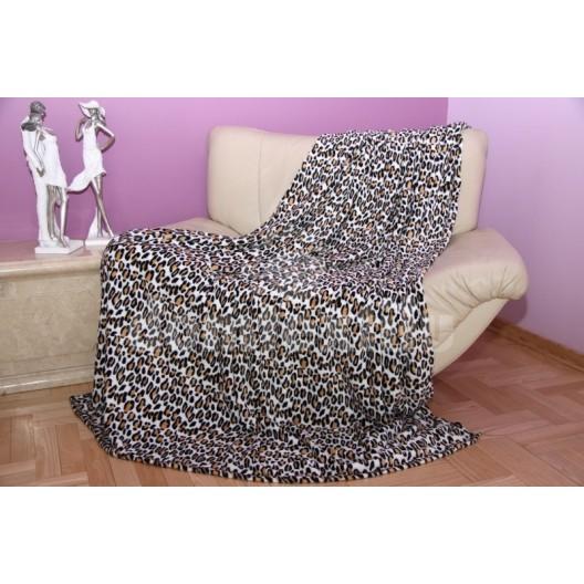 Hrubá hrejivá deka biela s gepardím vzorom