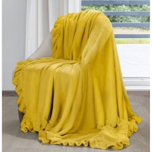 Kvalitná žltá hrejivá deka s ozdobným romantickým volánom  150 x 200 cm
