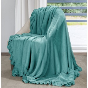 Krásna tyrkysová jemná deka s ozdobným volánom 150 x 200 cm