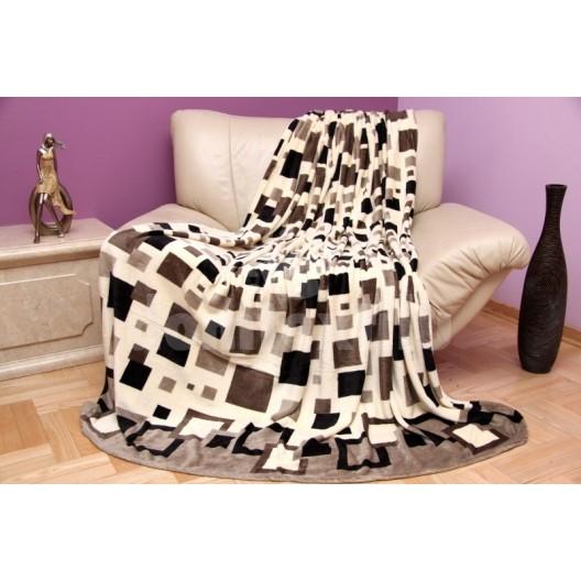 Luxusná béžová deka so štvorcovým vzorom