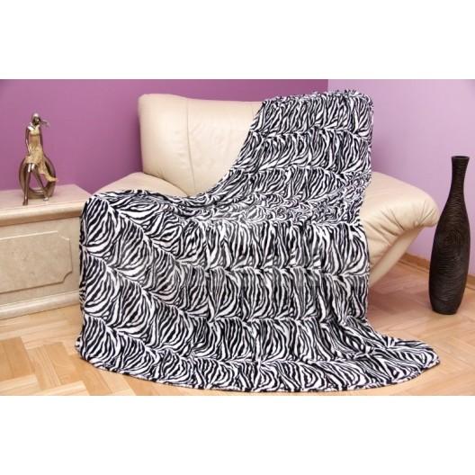 Bielo čierna luxusná deka