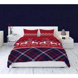 Kvalitné červené bavlnené posteľné obliečky vo vianočnom severskom štýle