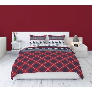 Vianočné bavlnené posteĺné obliečky so severským motívom sobov