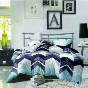 Moderné posteľne obliečky z mikrovlákna s modrými geometrickými tvarmi  SKLADOM 160 x 200 cm