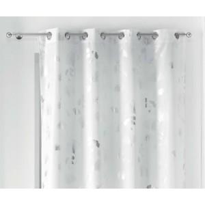 Biely záves na kruhy so strieborným motívom lístka gingka  140 x 260 cm