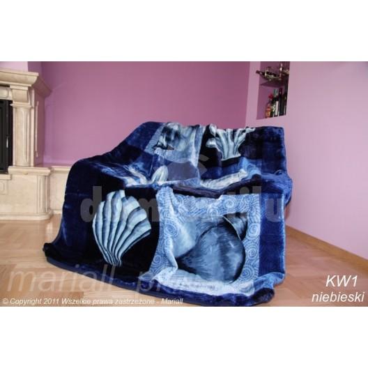 Luxusná hebká deka modrej farby s mušľami