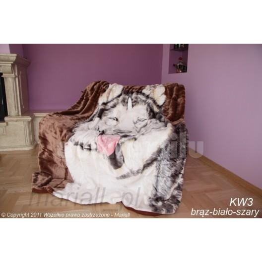 Moderná hebká deka hnedá s motívom vlka