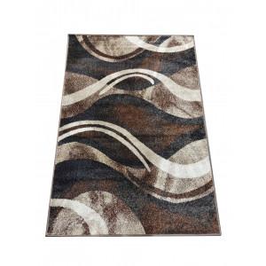 Originálny koberec s abstraktným vzorom v hnedej farbe