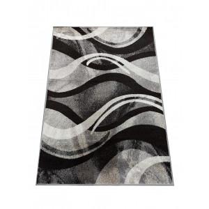 Originálny koberec s abstraktným vzorom v šedej farbe