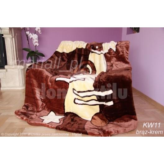 Krémovo hnedá luxusná akrylová deka
