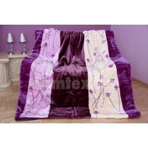 Luxusná fialová deka z akrylu so vzorom