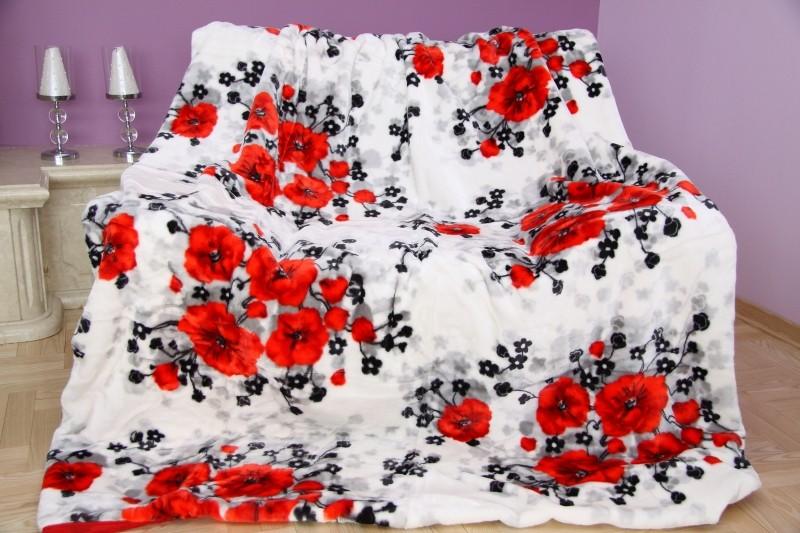 DomTextilu Luxusná biela deka z akrylu s kvetinovým vzorom Šírka: 160 cm   Dĺžka: 210 cm 3469-104363