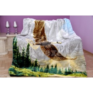 Sivá luxusná deka z akrylu s motívom orla