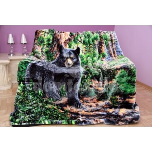 Luxusná deka z akrylu farebná s motívom medveďa v lese