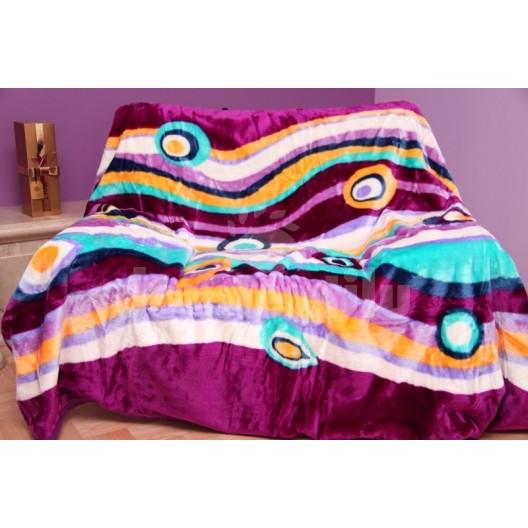 Luxusná moderná deka fialová s pruhmi