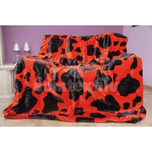 Luxusná deka z akrylu červená s čiernymi škvrnami