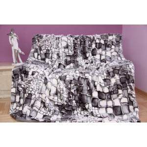 Luxusná deka z akrylu sivá s motívom