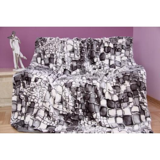 Luxusná deka z akrylu sivá s motívom kameňov