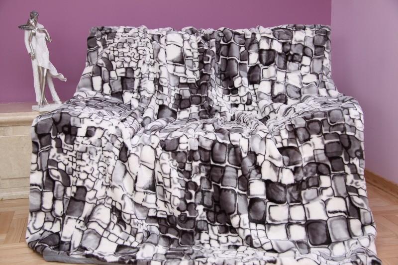 DomTextilu Luxusná deka z akrylu sivá s motívom kameňov Šírka: 200 cm   Dĺžka: 240 cm 3486-104373