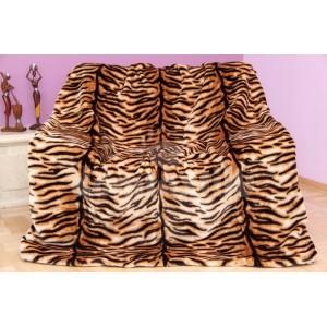 Luxusná moderná deka z akrylu hnedá s tigrím motívom