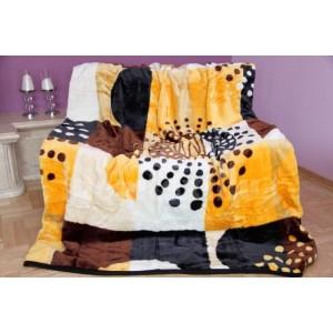 Luxusná deka z akrylu hnedo oranžovej farby