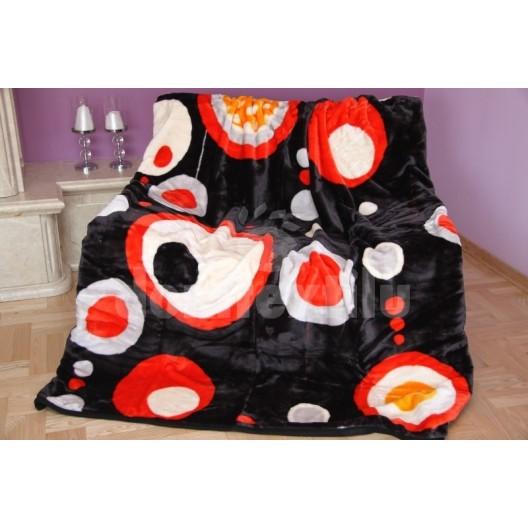 Luxusná akrylová deka čierna s motívom kruhov