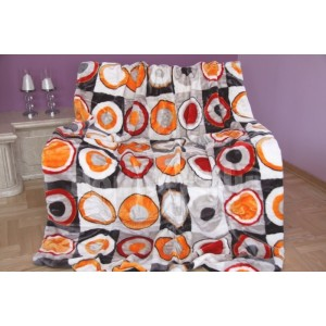 Luxusná akrylová deka sivo oranžová s kruhmi