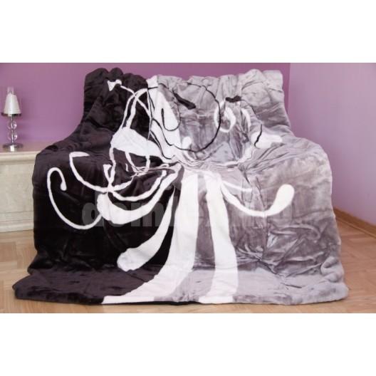 Luxusná deka z akrylu sivo - čierna