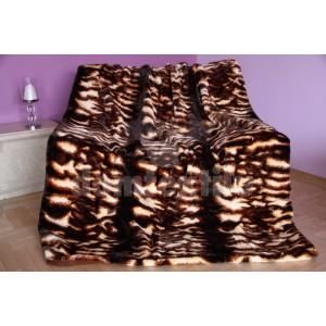 Luxusná deka z akrylu hnedá s pruhovým motívom