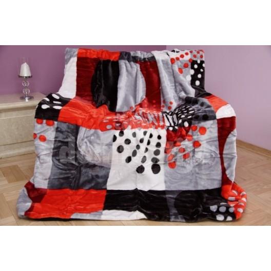 Kvalitná luxusná deka z akrylu sivo - červená