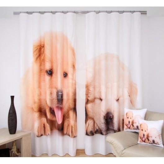 Luxusné 3D závesy do detskej izby so šteniatkami