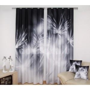 Luxusné závesy čiernej farby s 3D podtlačou bielych kvetov