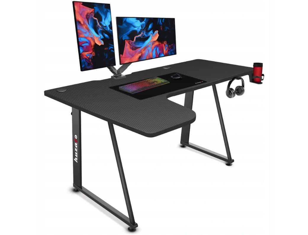 Priestranný rohový herný stôl v čiernej farbe