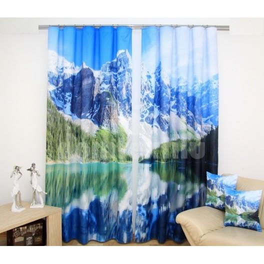 Záves bielej farby s jazerom a horami