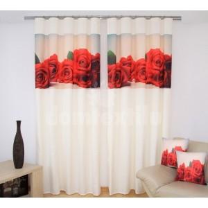 Luxusné závesy biele s 3D podtlačou ruže