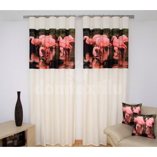 Luxusné 3D závesy na okná s podtlačou plameniakov