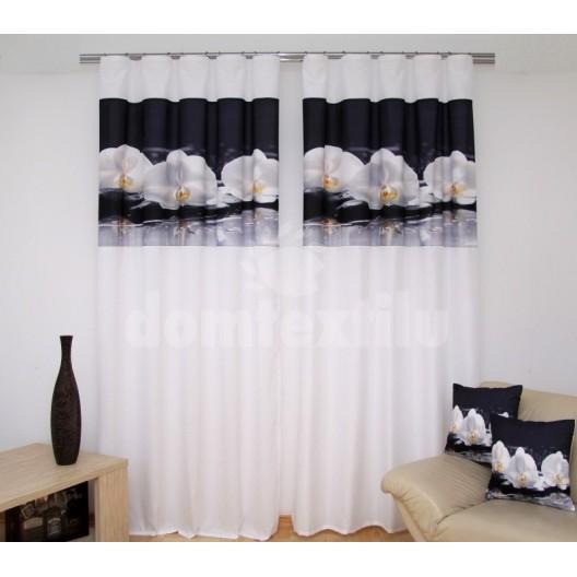 Závesy na okná bielej farby s 3D motívom bielej orchidey
