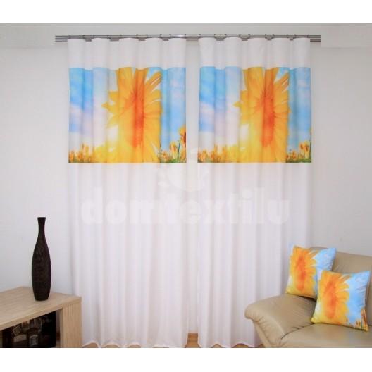 Závesy na okná bielej farby s motívom slnečníc