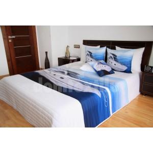 Bielo modrý prehoz na posteľ s loďou