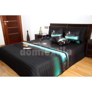 Čierny prehoz na posteľ s luxusnou loďou