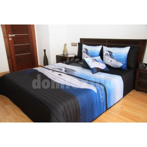 Prehoz na posteľ čiernej farby s bielou loďou