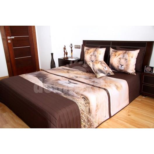 Hnedý prehoz na posteľ s motívom leva