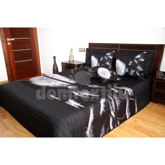 Čierne prehozy na posteľ s bielou odkvitnutou púpavou