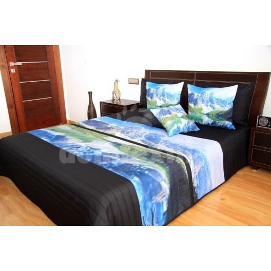 Modro čierny prehoz na posteľ s motívom hôr