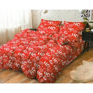 Krásne červené vianočné posteľné obliečky s nápisom HO-HO