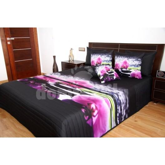 Prehozy na posteľ čiernej farby s 3D motívom orchideí