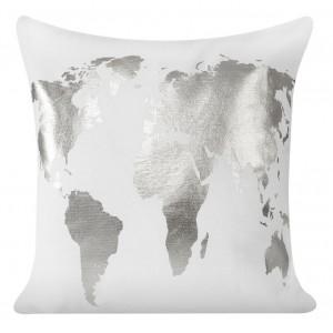 Biela obliečka na vankúše so strieborným vzorom 40 x 40 cm SKLADOM