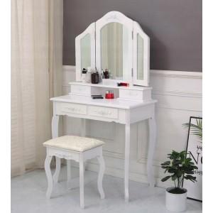 Nádherný toaletný stolík s veľkým zrkadlom v bielej farbe