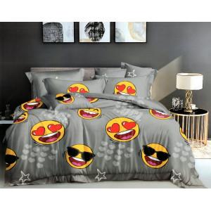 Originálne sivé detské posteľné obliečky s usmievavými smajlíkmi