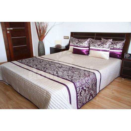 Luxusný prehoz na posteľ béžový s fialovým motívom